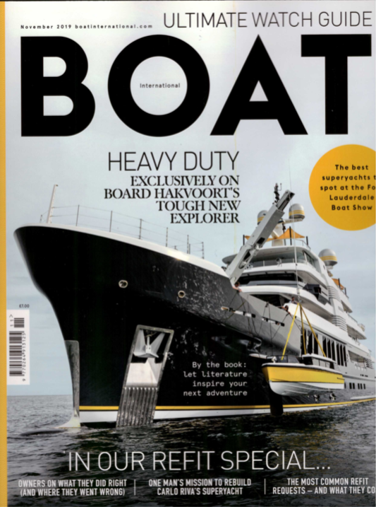 Scout super yacht article in boat international with custom liquor cabinet by Splinterworks