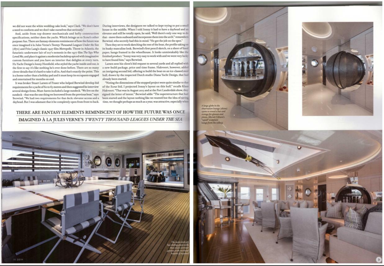 Boat International article on Scout super yacht showing globe liquor cabinet custom made by Splinterworks