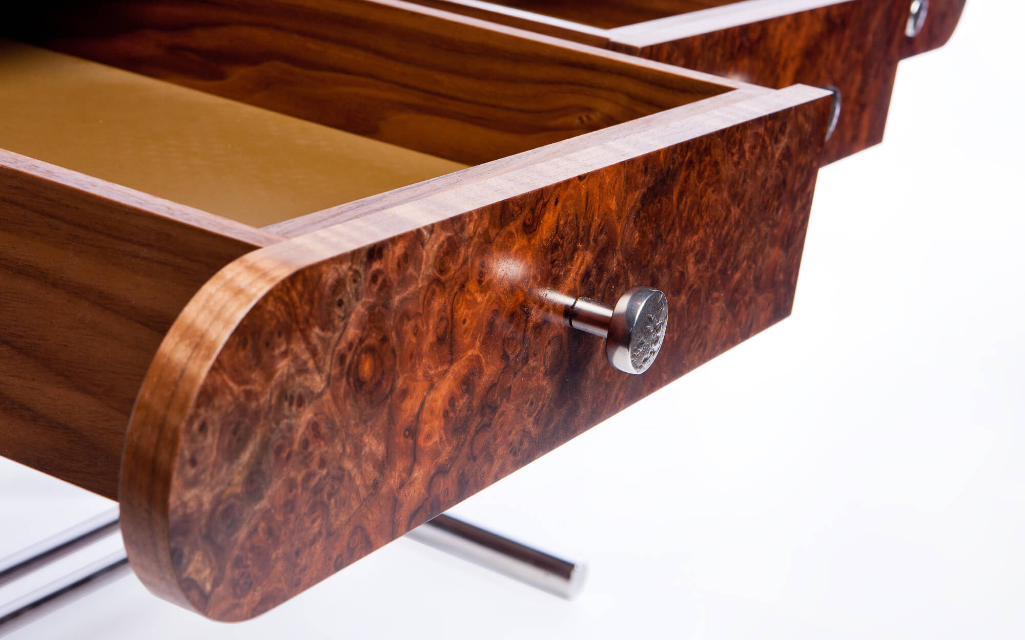 Detail of draws of the luxury Belgravia writing desk by Splinterworks