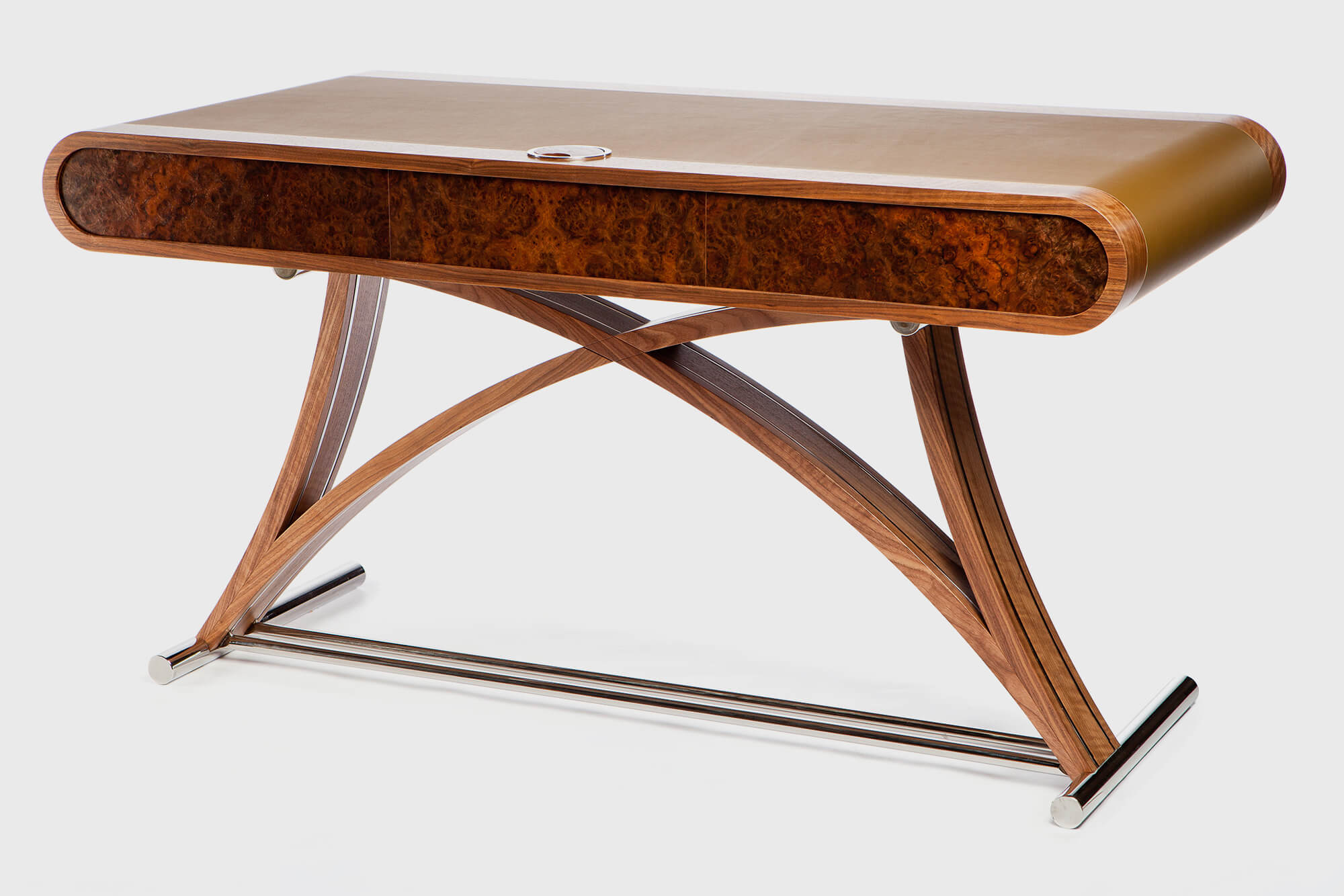 Burr veneer on elegant leather writing desk created to bespoke sizes