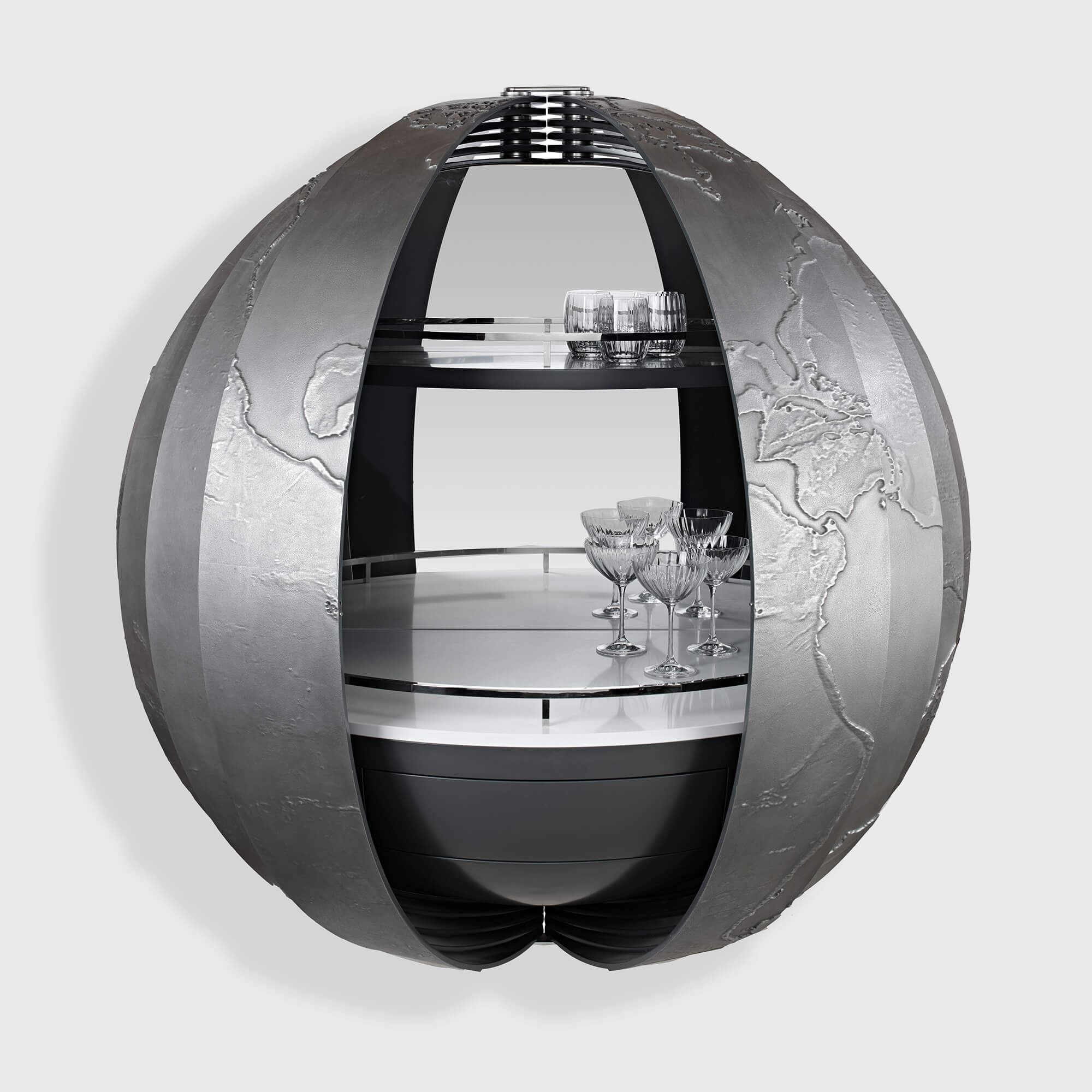 Custom globe drinks cabinet created by Splinterworks for Scout super yacht.