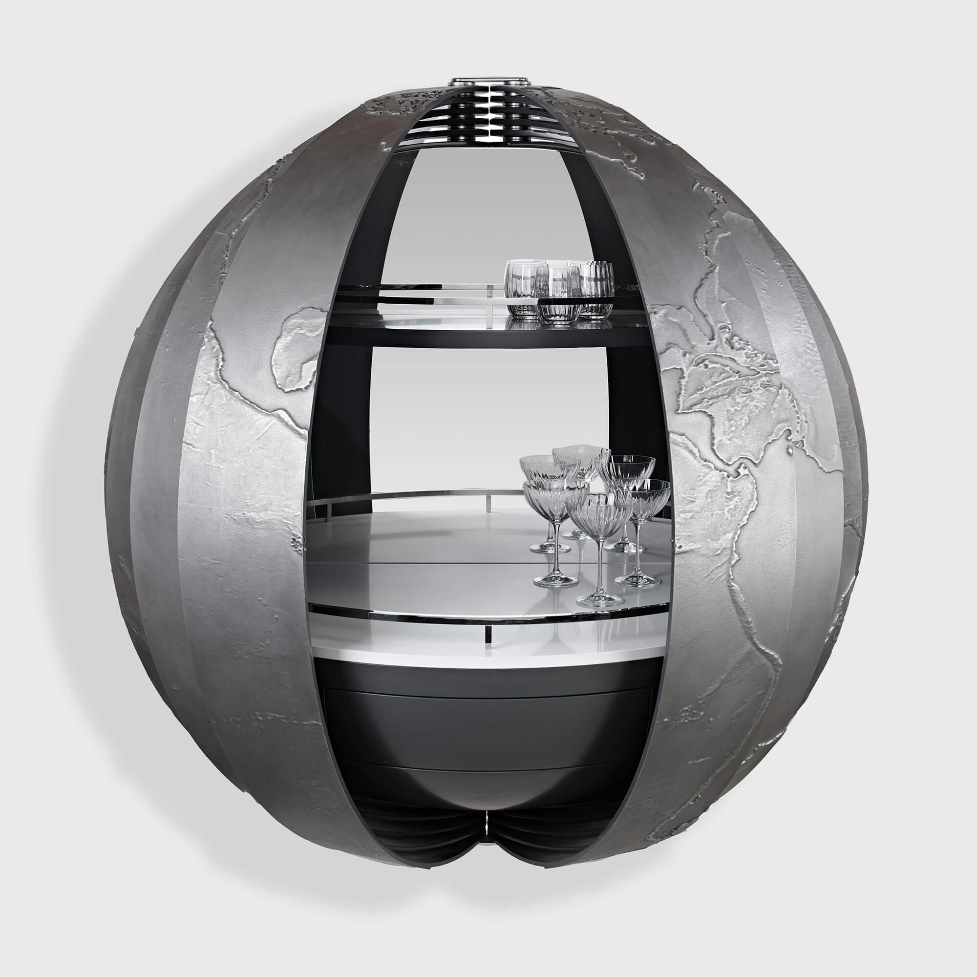 Custom globe drinks cabinet created by Splinterworks for Scout super yacht.