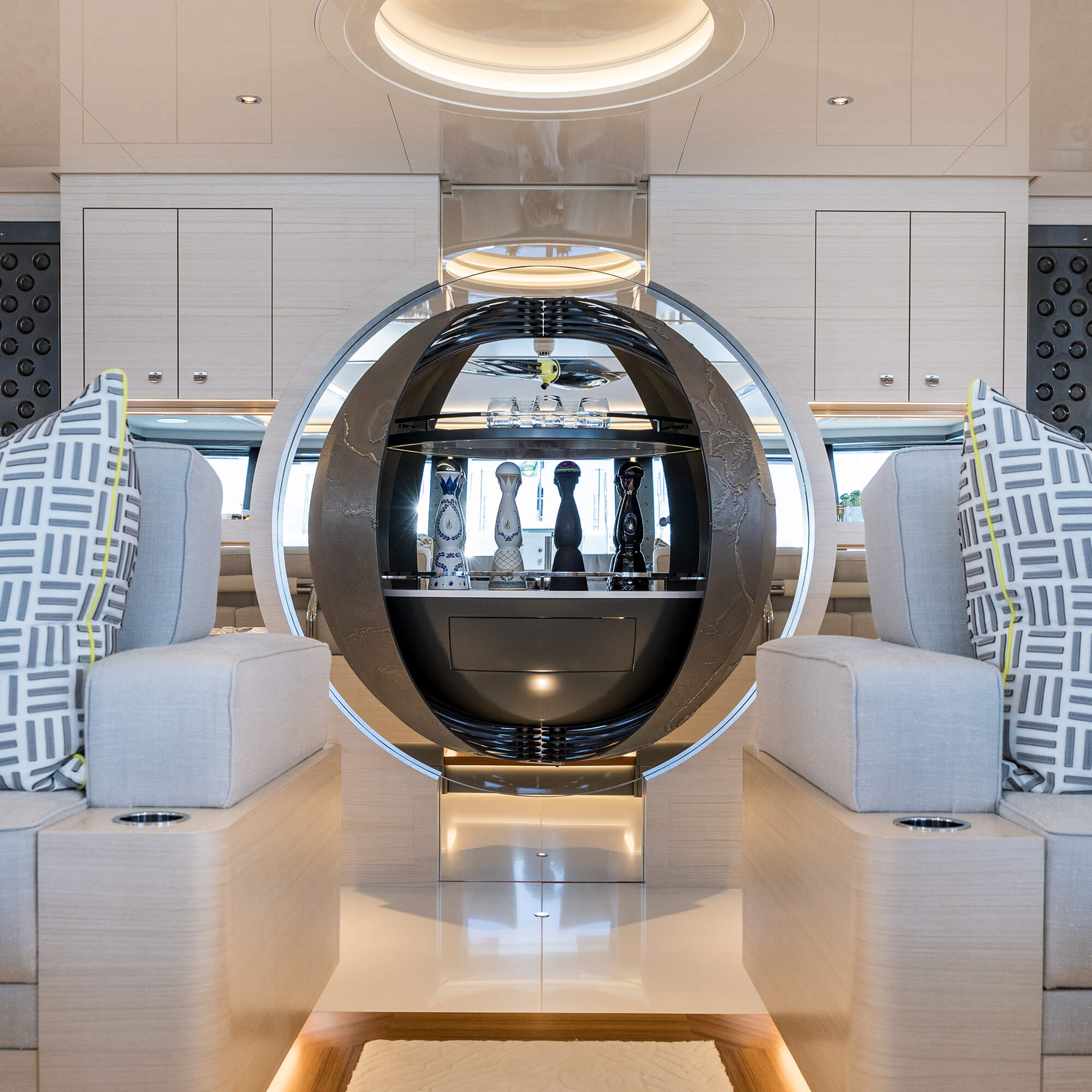Wall-mounted drinks cabinet by Splinterworks on the Scout super yacht