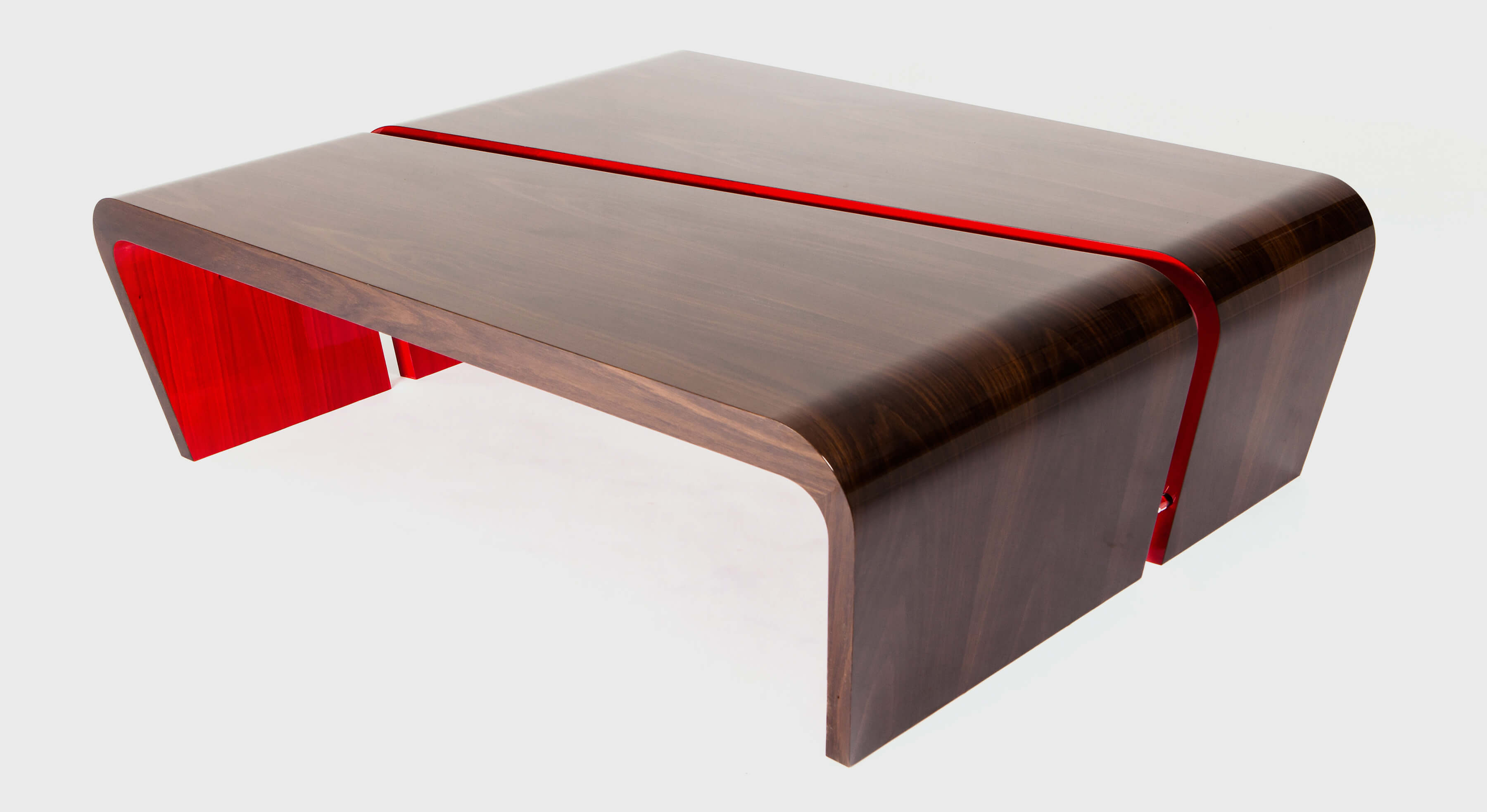 Pair of geometric side tables with playful red detail