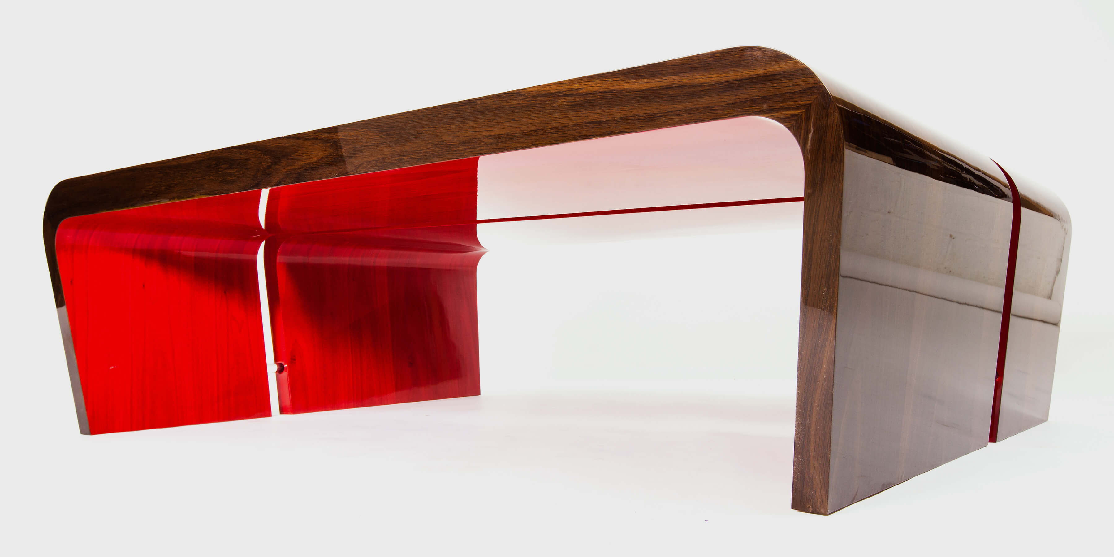 Pair of hand-made coffee tables with fun red detail