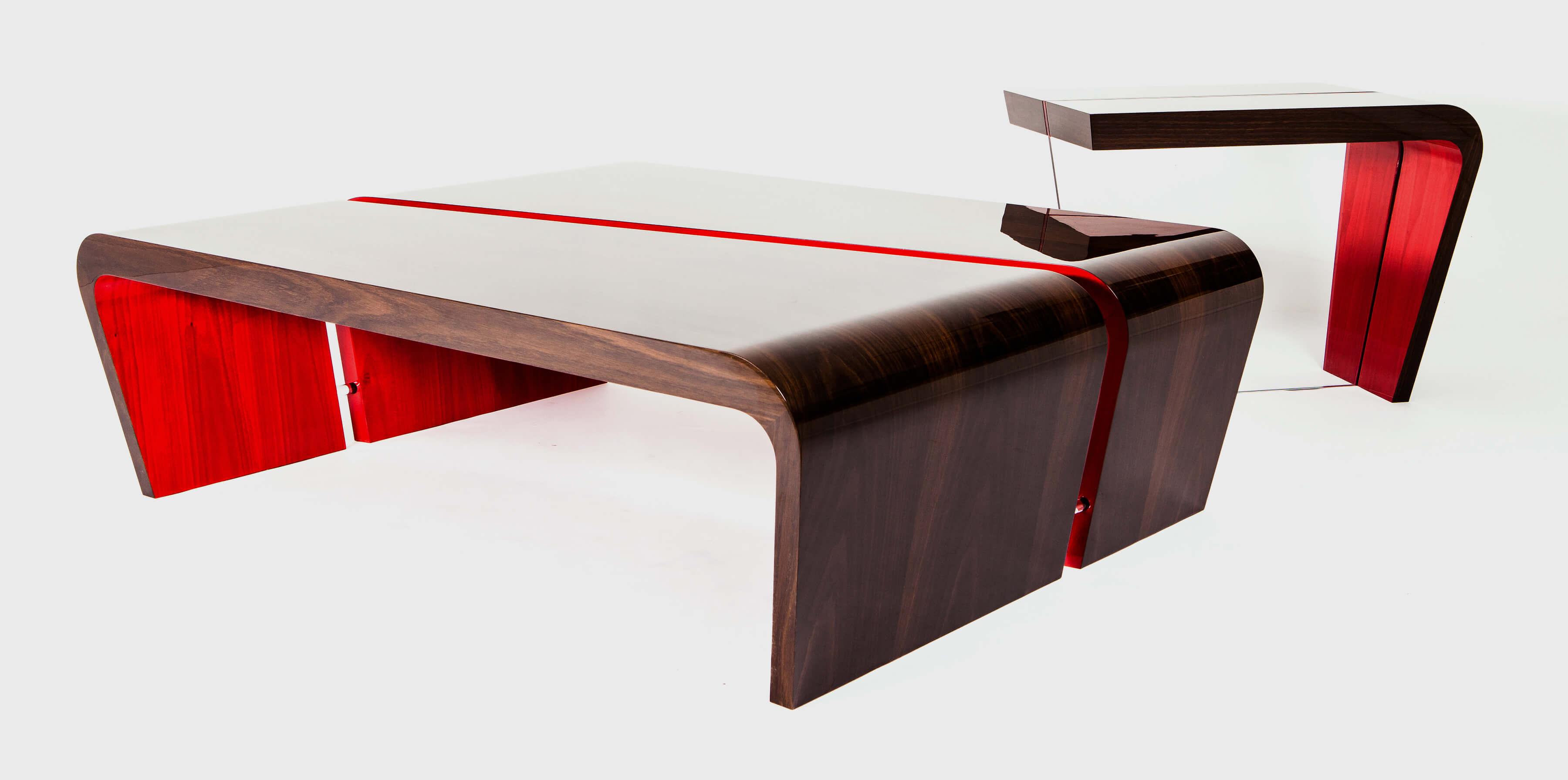 Rima, custom made pair of side tables with red underside by Splinterworks