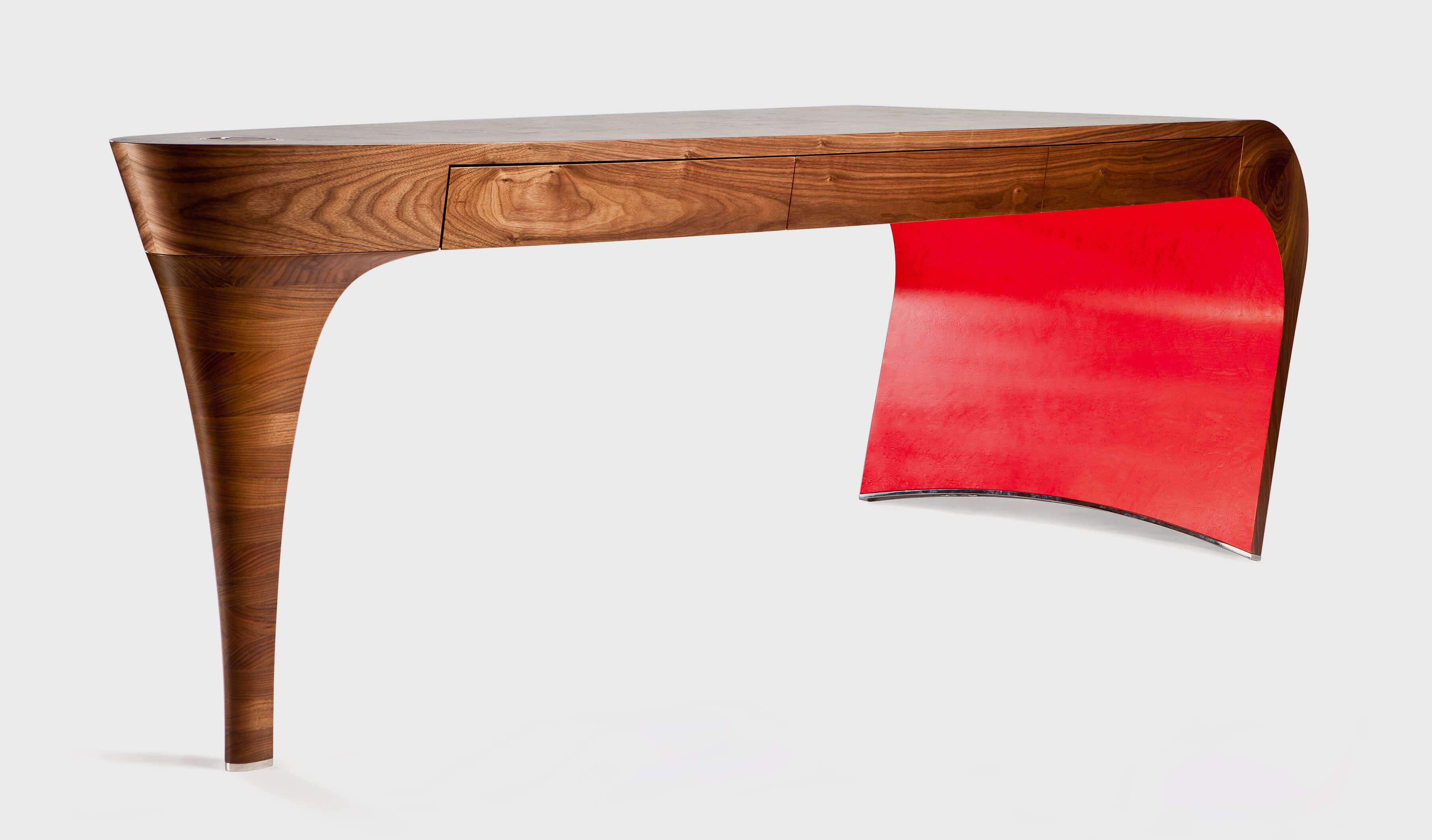 Burr veneer dressing table by Splinterworks with red underneath.