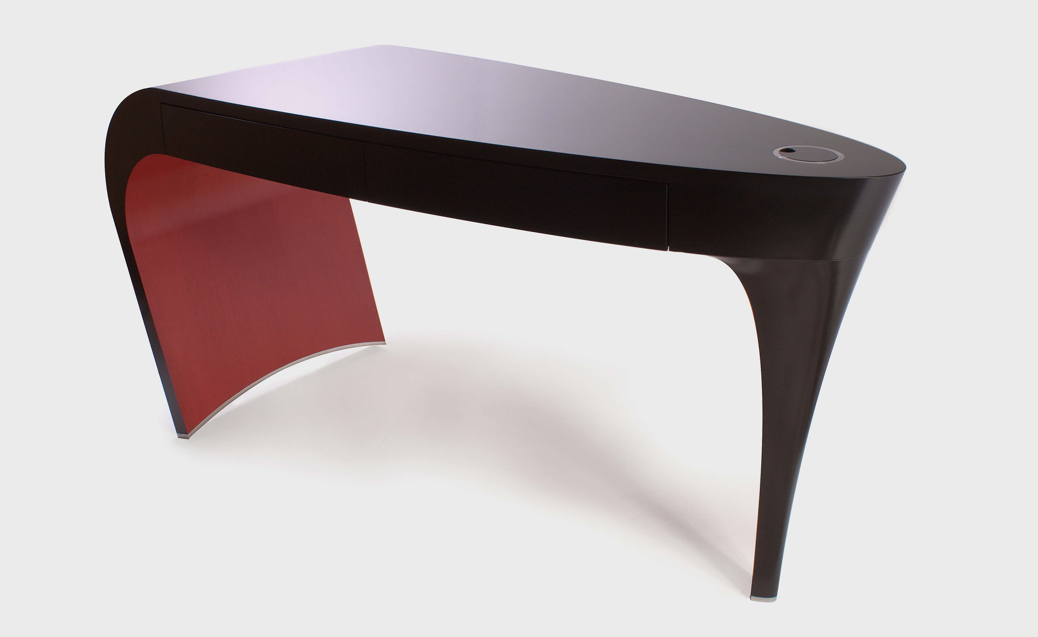 luxury japanned dressing table in black with red detail called Stiletto.