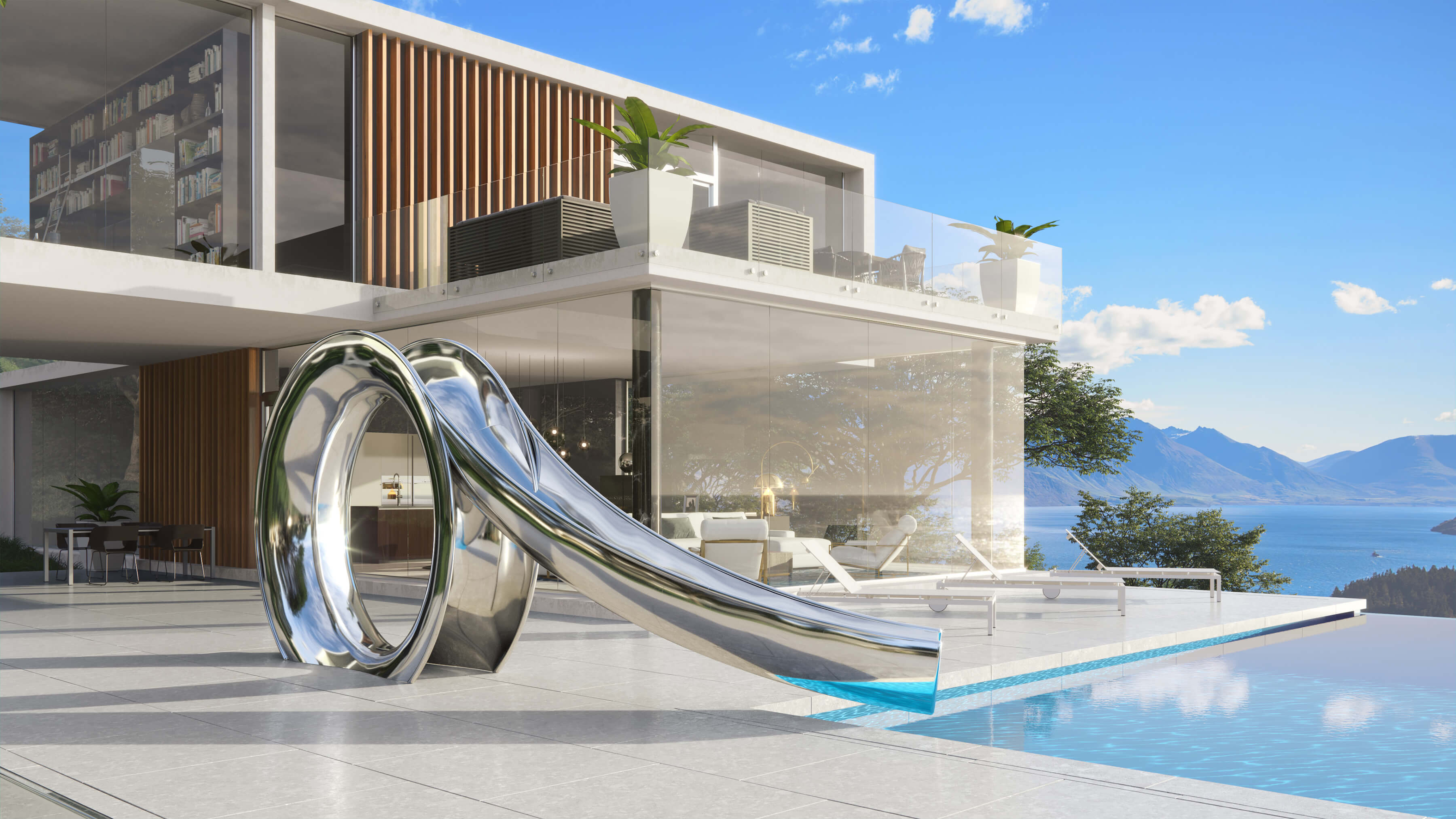 Water slide designed in mirror polished stainless steel by modern house with ocean view.
