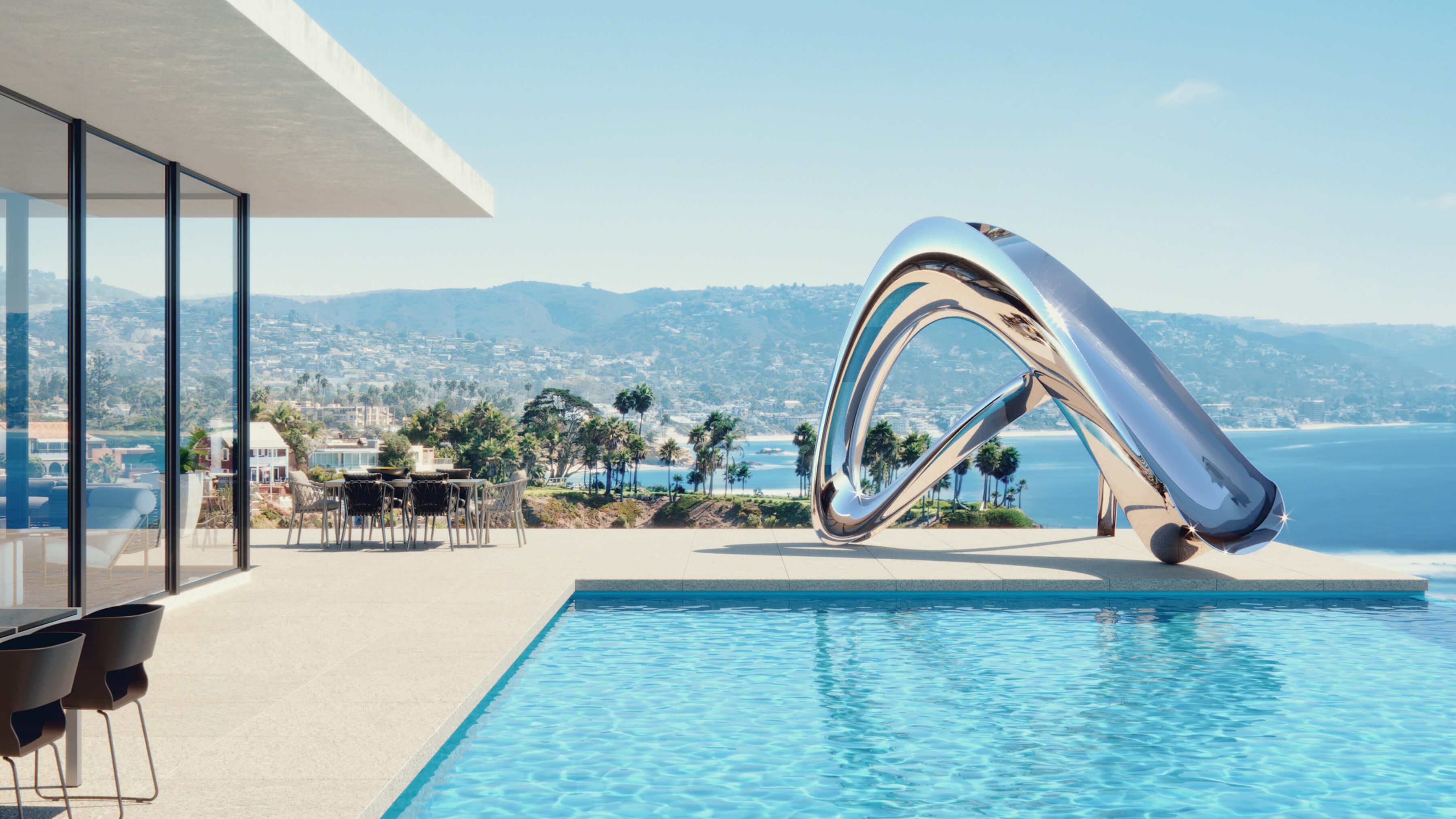 Los Angeles pool side sculpture and water slide by Splinterworks.