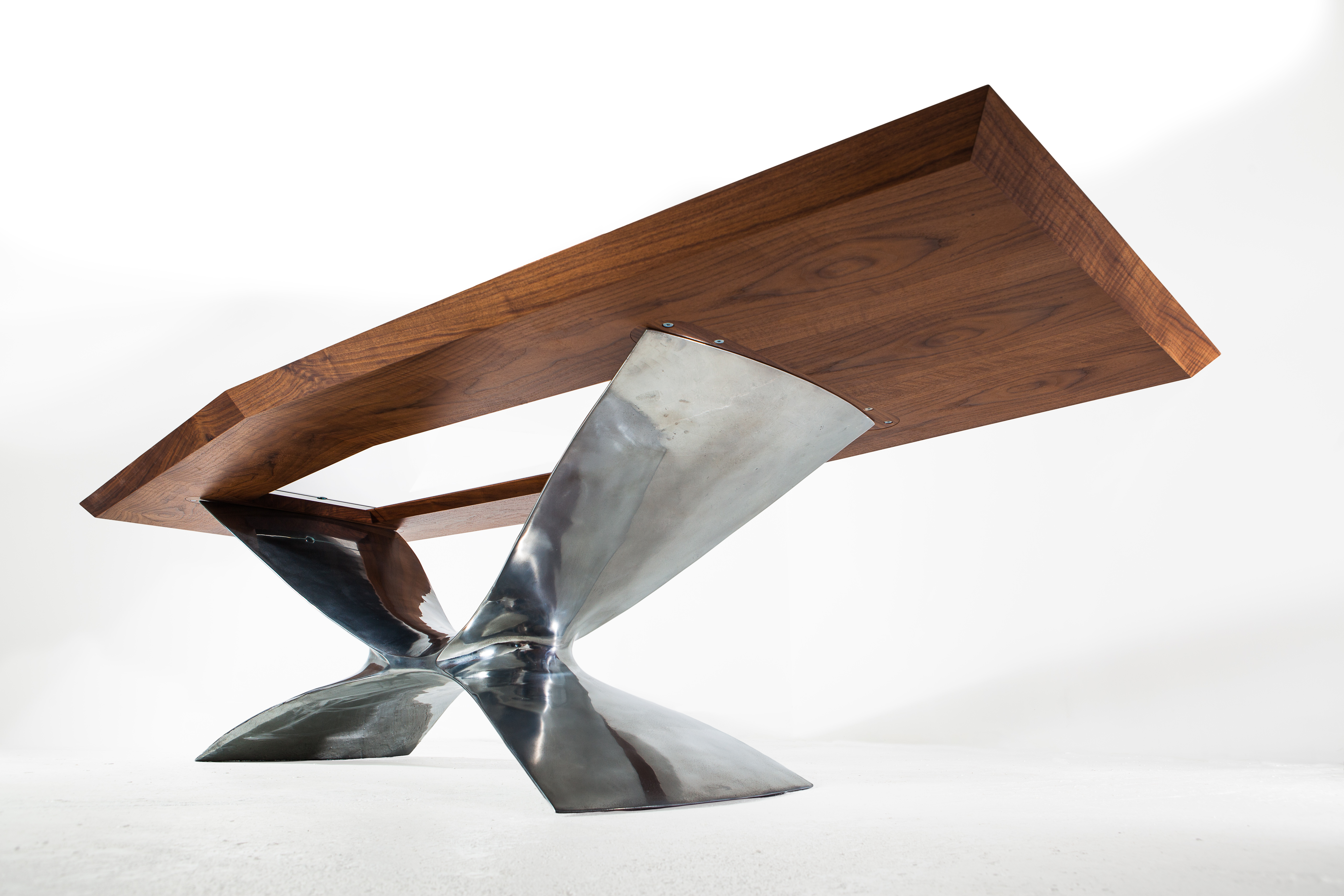 Soar desk commission hand-crafted in steel, wood and glass by Splinterworks