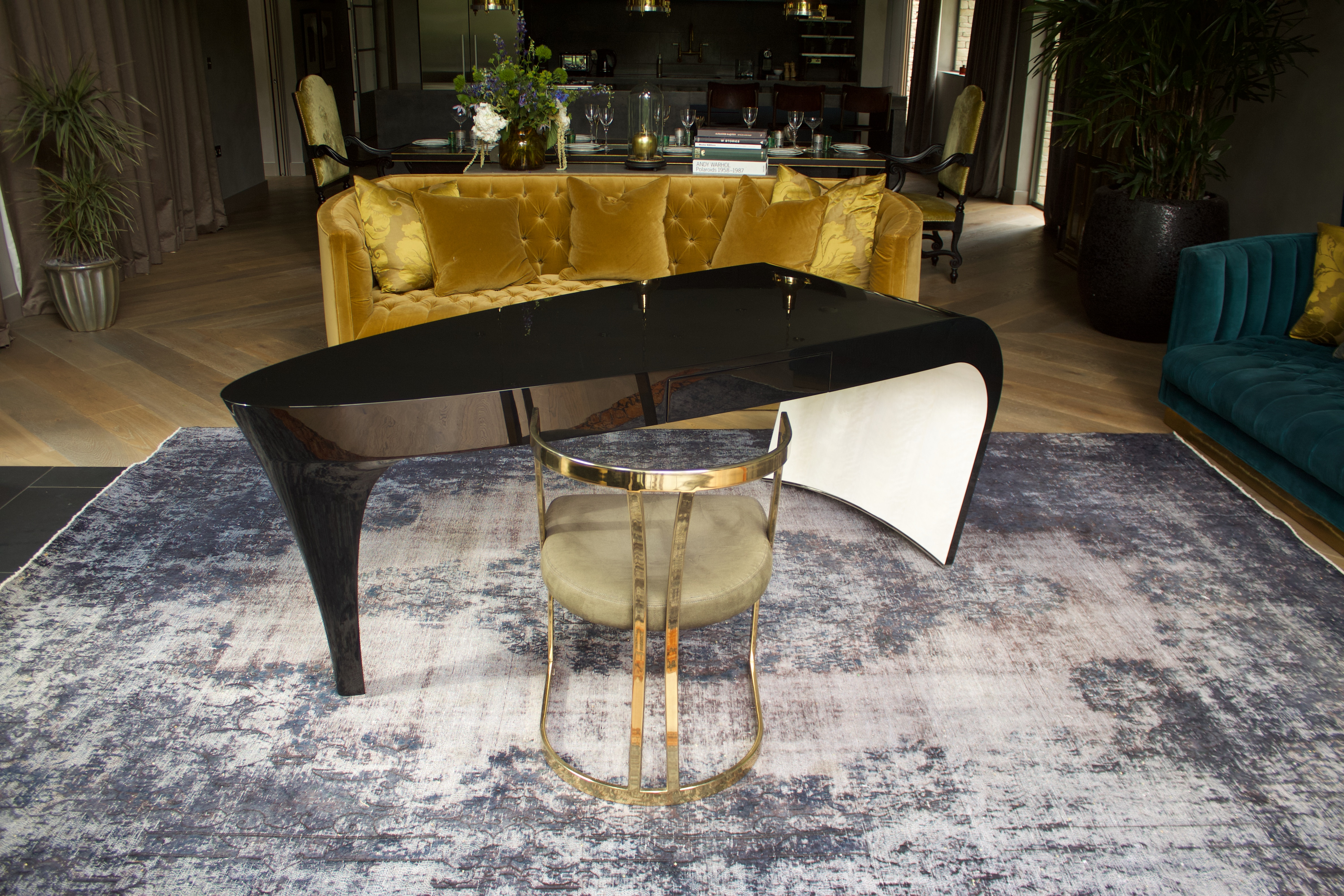 Stiletto dressing table in opulent interiors of the barnhouse lake by Yoo